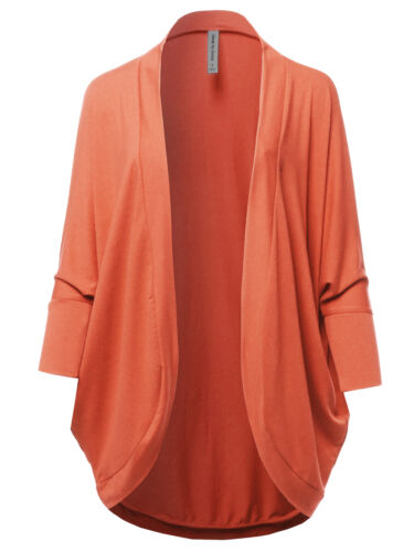 FashionOutfit Women/'s Premium 3//4 Sleeve Loose Cocoon Open Front Pocket Cardigan