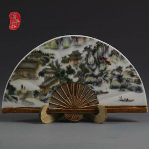 China-Old-jingdezhen-Hand-painting-Colour-House-Mountain-Fan-Porcelain-statue