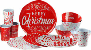 Red-Merry-Christmas-12-Piece-Melamine-Plastic-Plate-Cups-Bowl-Set