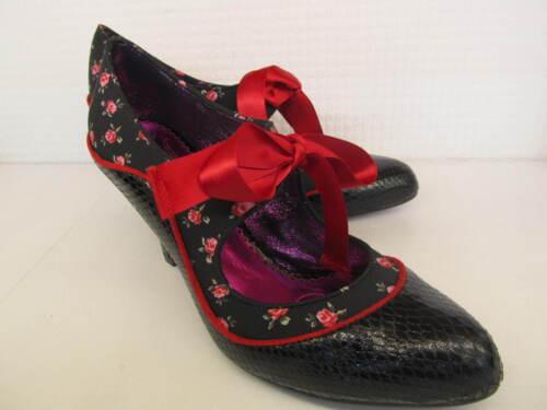 POETIC LICENCE Par IRREGULAR CHOICE Schools Out Noir Rouge Lacets Chaussure Femmes
