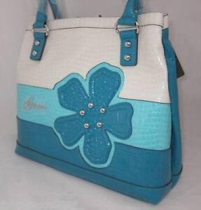 GUESS-Kelsi-Camelia-Bag-Purse-Handbag-Large-Tote-Sac-White-Blue-Flower-New