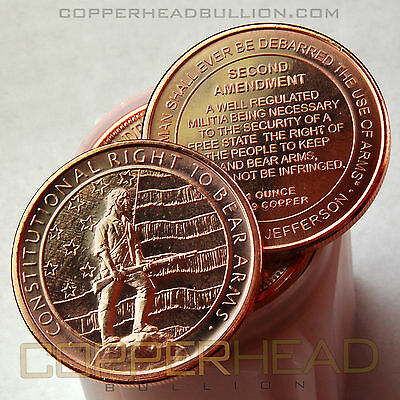 Roll of (10) 1oz Second 2nd Amendment Copper Coins GSM Bullion Rounds 5-20