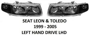 SEAT-LEON-I-TOLEDO-II-FRONT-HEADLAMPS-HEAD-LAMP-LIGHT-HEADLIGHTS-1999-2005-H7-H1