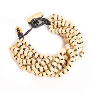 Handmade-Wood-Bead-Thick-Seed-Bracelet-Thai-Women-Costume-Jewelry-Pale-Brown