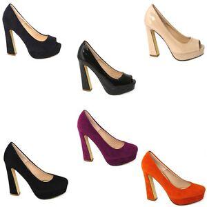 La imagen se está cargando Mujer-15-2cm-Tacon-Plataforma-Zapatos-de-salon- ff5dd5b3673f