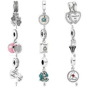 Silver-Best-Friends-Compass-Happy-Birthday-Ariel-Shell-Mary-Poppins-Dangle-Charm