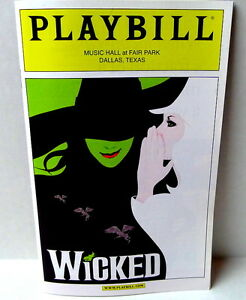 WICKED-Playbill-Fair-Park-Music-Hall-Dallas-TEXASl-2013-April-Summer-Musical-DSM