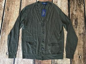 Mens Green Lauren Olive Xl 100Cashmere Polo Cardigan Size Ralph 9EDHIWY2