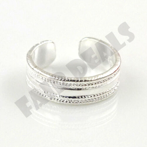 925 Silver Plated Adjustable Heart Ring For Toe And Finger Cuff Ring Size 4-6
