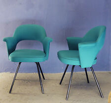 1 of 3 VINTAGE MID CENTURY 50s 60s UPHOLSTERED DINING CHAIR ARMCHAIR METAL LEGS