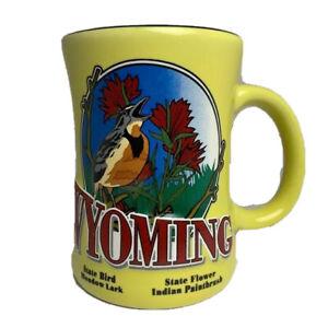 Wyoming-Coffee-Mug-Cup-State-Flower-Bird-Yellow-Kitchen-Accessories