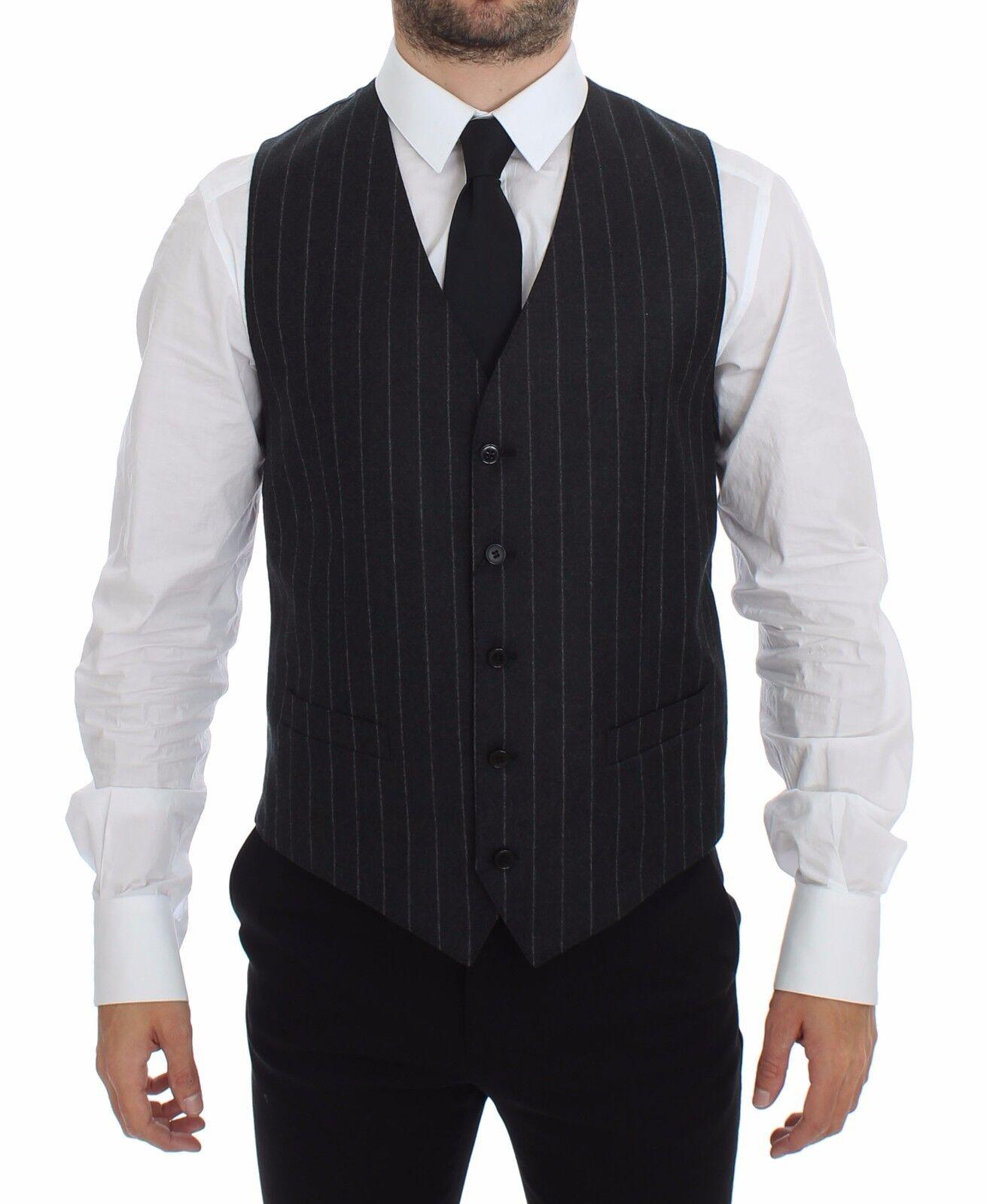 NWT DOLCE & GABBANA grau Striped Wool Logo Vest Waistcoat IT48 / US38 / M