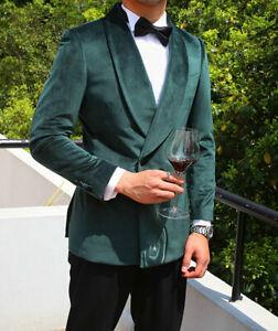 Green-Velvet-Men-039-s-Blazer-Double-Breasted-For-Wedding-Party-Coat-Slim-Fit-Custom