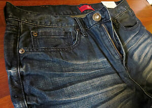 Guess Slim Straight Leg Jeans Mens Size 38 X 32 Classic Vintage Distressed Wash