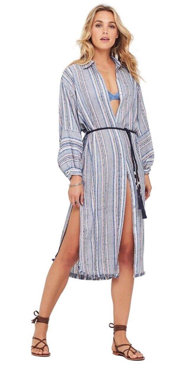 Tigerlily Shaivas Shirt Dress blueee Stripes AU 10 RRP RRP RRP  140 Belt Cotton 0e5050