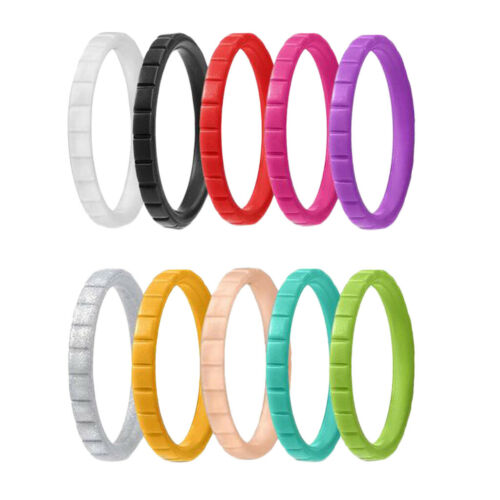 10Pcs DIY Colorful Silicone Ring Flexible Rubber Wedding Band Men Women Gift