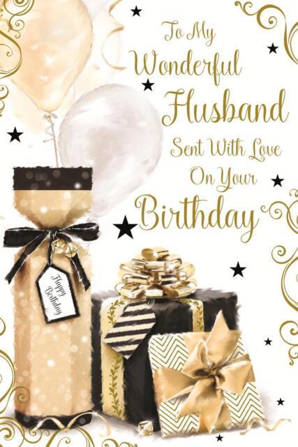 STUNNING EMBOSSED PRESENTS TO MY WONDERFUL HUSBAND BIRTHDAY GREETING CARD