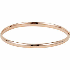 14k Rose Gold 4mm Polished Hinged Bangle Bracelet
