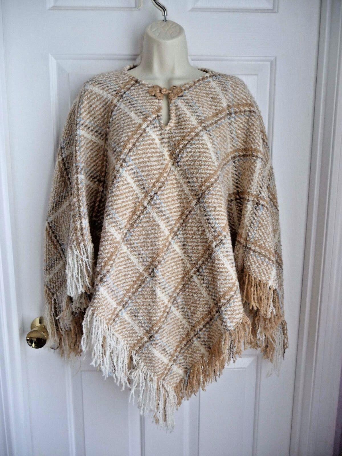 Boyne Valley Weavers Poncho Cape Sweater Ireland Made Frinched Alpaca Plaid NICE