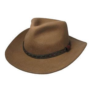 Herren Uk Verkaufer Hellbraun Filzhut Cowboy Hut Breite Krempe 39004