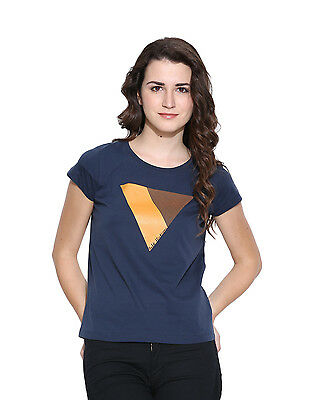 Cult Fiction women's Blue Cotton Cap Sleeve Tee (CFG01DB732)