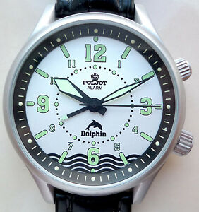Russian-WATCH-POLJOT-ALARM-DOLPHIN-Diving-paper-and-original-box