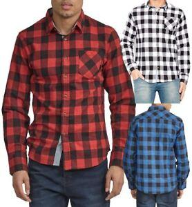 Mens-Check-Shirt-Collard-Cotton-Casual-Size-S-M-L-XL-White-Red-Blue-Black