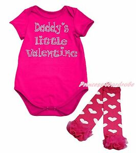 Daddy Little Princess Crown Black Bodysuit Girl Hot Pink Heart Baby Dress NB-18M