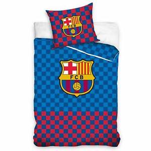 Fc-Barcelona-a-Carreaux-Set-Housse-de-Couette-Simple-Enfants-Coucher-Football