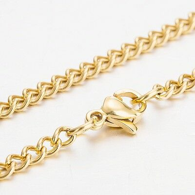 3.0MM 18KGP Gold Plated Stainless Steel Cuban Curb Chain Necklace 60CM Long