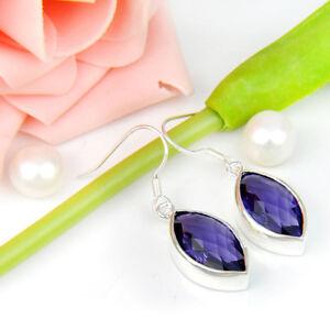 Woman-Nice-Handmade-Jewelry-Purple-Amethyst-Gemstone-Silver-Dangle-Hook-Earrings
