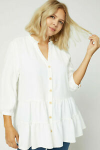 Entro-White-Tiered-V-Neck-3-4-Sleeve-Tunic-Top-Plus-Size-XL