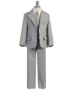 Boys-5-Piece-GREY-Suit-Dress-Toddler-TEEN-Suits-W-Vest-Tie-Shirt-SIZES-6-20