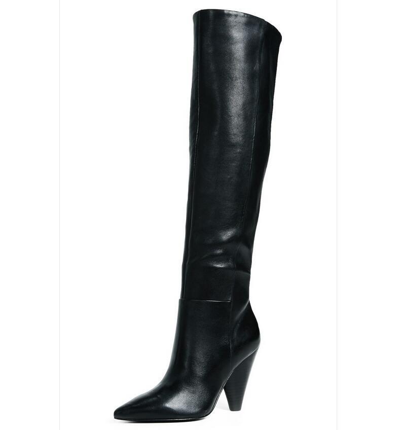 Gr:33-45 Schwarz Zehe Original Stiefel Damenschuhe Spitz Zehe Schwarz Europa Kniehohe Stiefel dea70a