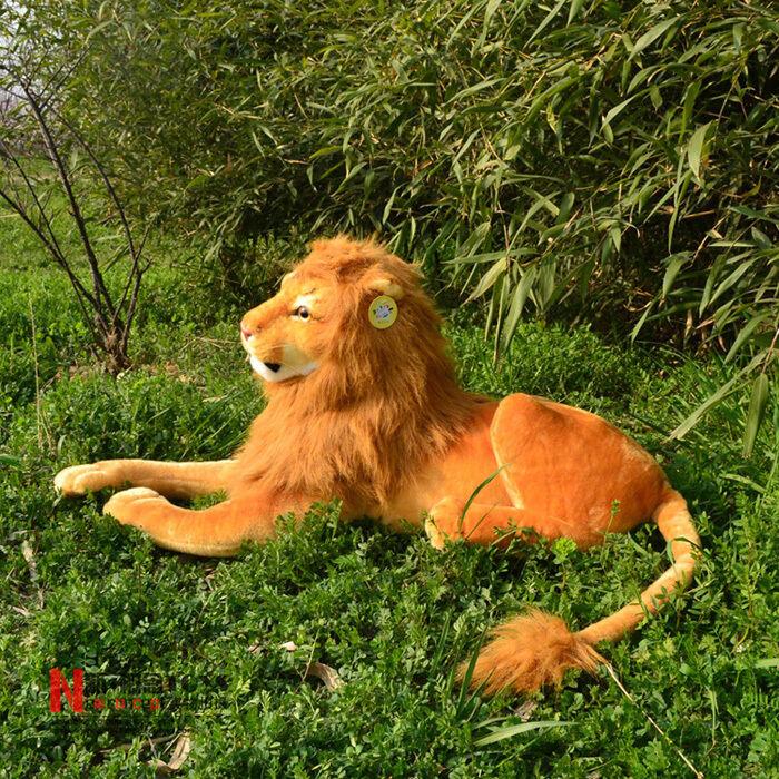 90cm Giant big stuffed simulation lion plush soft toys lying lion doll gift home