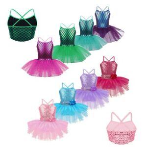Kids-Girls-Ballet-Dance-Leotard-Dresses-Gym-Dancewear-Lyrical-Tutu-Skirt-Costume