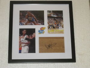 Danny Manning Signed Floorpiece Kansas Basketball COA