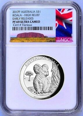 2017 P Australia HIGH RELIEF 1oz Silver Koala $1 Coin NGC PF70 ER NEW LABEL COA