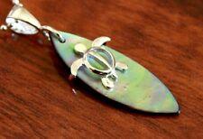 Hawaiian 925 Sterling Silver TURTLE ON SHELL SURFBOARD Pendant Necklace #SP26801