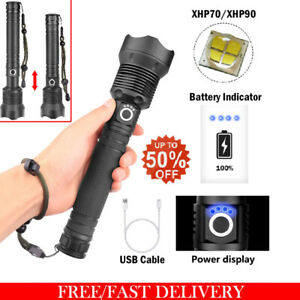 Torche-rechargeable-USB-puissante-lampe-de-poche-LED-XHP50-XHP70-XHP90-Zoom-FR