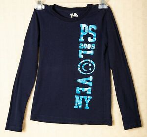 7239cfd87f5298 P.S. Aeropostale Girls Top BLUE Crew Long Sleeve LOVE SMILEY FACE ...