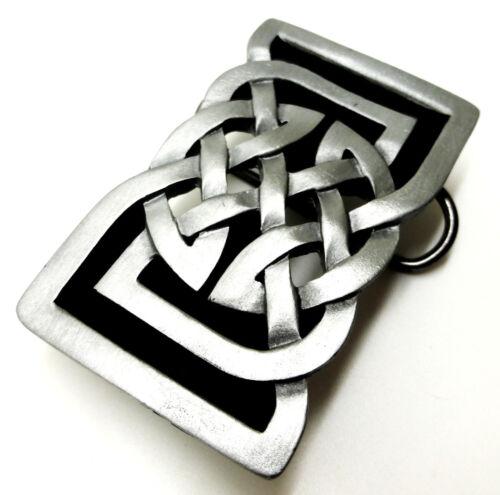 Celtic Knot Belt Buckle Rectangular Black Cut Out Authentic Bergamot Product