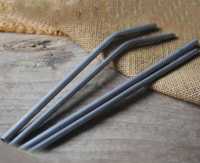 2pcs TITO Titanium Shining Drinking Straw Pipet Sucker Tableware