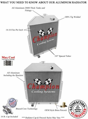 3 Row Perf Champion Radiator for 1942-1952 Ford Truck Ford Configuration