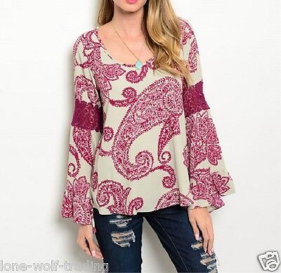 Ladies Boho Light Sand Magenta Peasant Lace Bell Sleeve Top-RT-13 CN262542