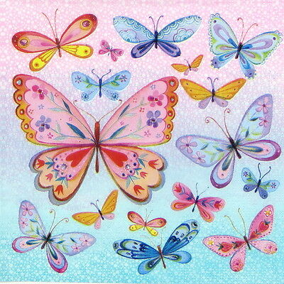 """4x Single Table Paper Napkins for Party, Decoupage, Craft """"Butterflies Allover"""