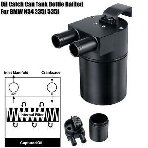 Black-Billet-Aluminum-Oil-Catch-Can-Tank-Bottle-Baffled-For-BMW-N54-335i-535i