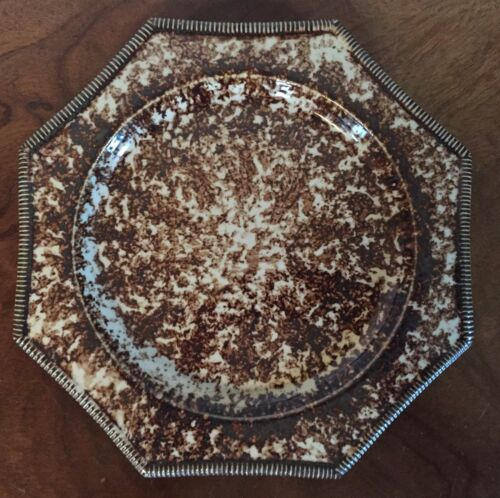 Whieldon 18th c Style Porcelain Plate Mochaware Williamsburg MMA Brown Agate
