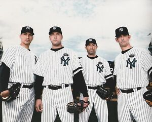 CORE-4-NEW-YORK-YANKEES-JETER-POSADA-RIVERA-PETTITTE-UNSIGNED-8x10-PHOTO