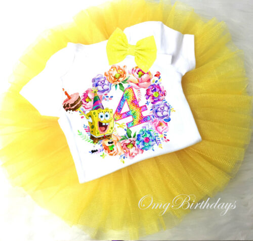 Spongebob Rainbow Yellow 4th Fourth Birthday Girl Tutu Outfit Shirt Headband